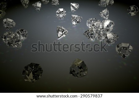 Background with shiny diamonds and prism effects from illuminating lights - stock photo