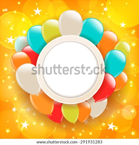 background with stars and balloons. raster version - stock photo