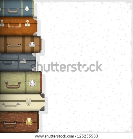 Background with suitcases. Raster version - stock photo