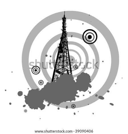 background with Television tower - stock photo