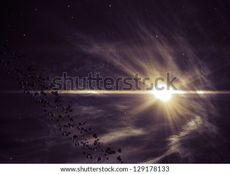 Background with the shining star in space. Elements of this image furnished by NASA - stock photo