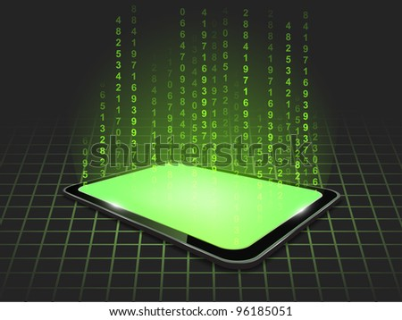 Background with touch tablet model and green figures hologram. - stock photo