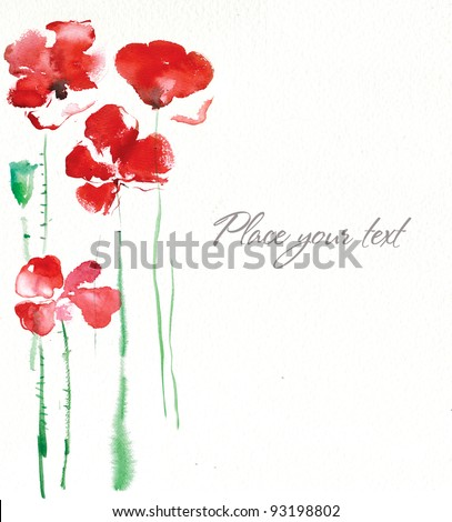 Background with watercolors  poppies - stock photo