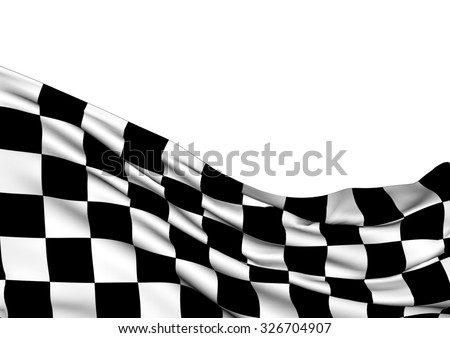 Background with waving racing three-dimensional checkered flag of end race. - stock photo