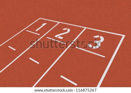 Background with white starting line on red clay - stock photo