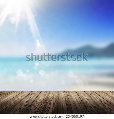 Background with wooden table and blue sea - stock photo