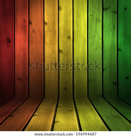 Background wood board texture with reggae color - stock photo