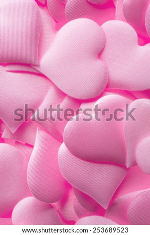 Backgrounds and textures: pink hearts background, suitable for Valentine`s day or wedding or some else romantic event - stock photo
