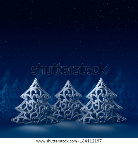 Backgrounds and textures: three white Christmas trees, night forest, moonlight, stars and snow - nice design template for greeting card, poster or desktop wallpaper, composite image - stock photo