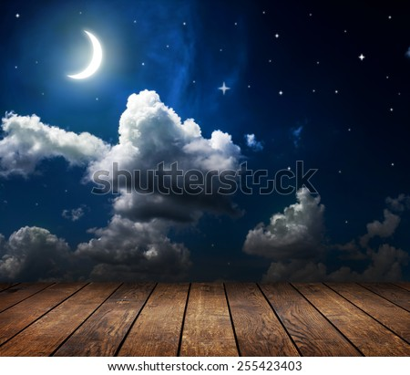 backgrounds night sky with stars, moon and clouds.  wood - stock photo