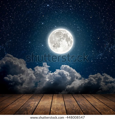 backgrounds night sky with stars, moon and clouds. wood floor. Elements of this image furnished by NASA - stock photo