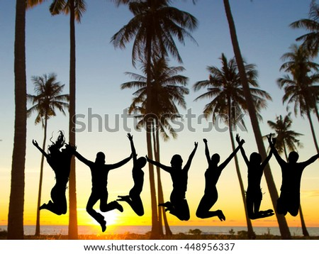 Backlit Group Dance the Night Away  - stock photo