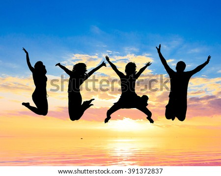 Backlit Group Friends Silhouettes  - stock photo