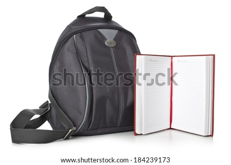 backpack and books on a white background. - stock photo