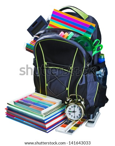 backpack for school stationery learning isolated on white background - stock photo