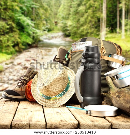 backpack hat and shoes of trip time  - stock photo