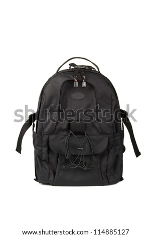 Backpack isolated on white - stock photo