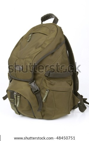 Backpack on white background - stock photo