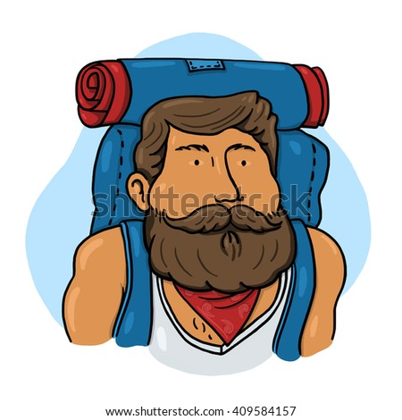 Backpacker illustration; Hiking man - stock photo