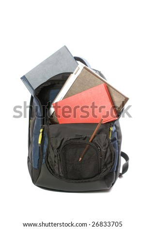 backpacking with laptop, books and pencil - stock photo