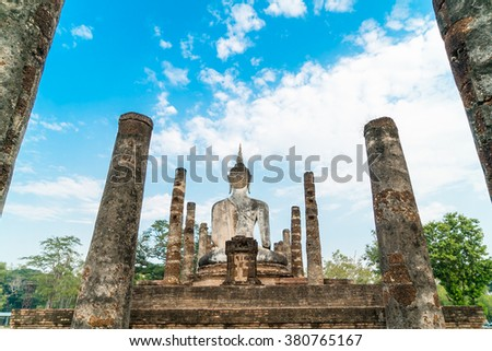 Backside of old buddha in the temple at Sukhothai Historical Park in Sukhothai Province, Thailand - stock photo