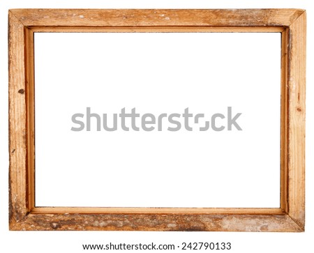 Backside of old wooden frame isolated on white background - stock photo