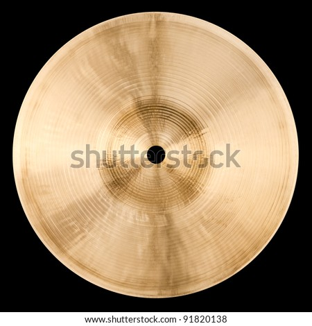 Backside of small cymbal isolated on black - stock photo