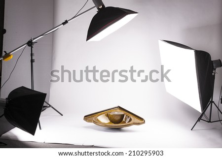 Backstage from studio shooting of acrylic washbasin - stock photo