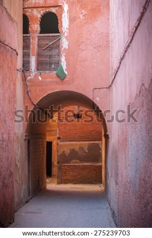 Backstreet In The Medina Of Marrakech  - stock photo