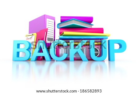 backup concept. files in database, folders, books. 3d illustration isolated on white background - stock photo