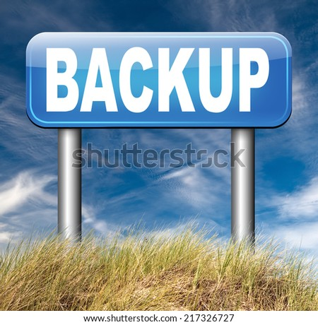 Backup data and software on copy in the cloud on a harddrive disk on a computer or server for file security. Internet safety  - stock photo