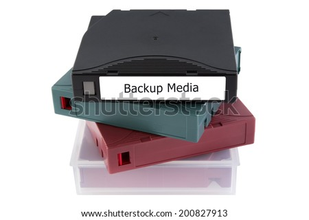 Backup media tape for data recovery most use in server room isolated on white background. - stock photo