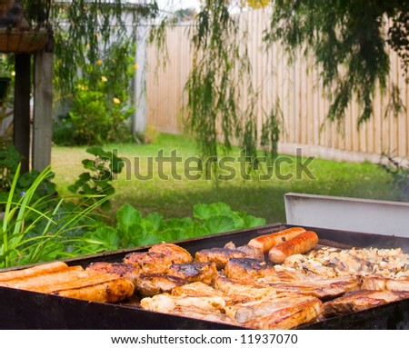 Backyard Barbecue with sausages, chops, steak and onions - stock photo