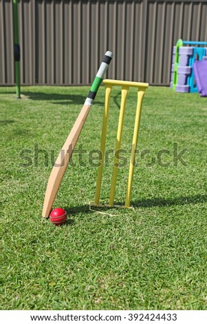 Backyard cricket equipment - An Australian pastime - stock photo