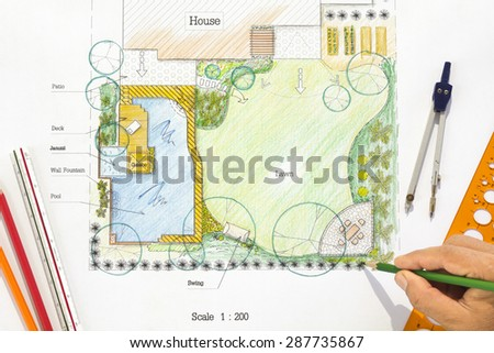 Backyard garden design plan. - stock photo