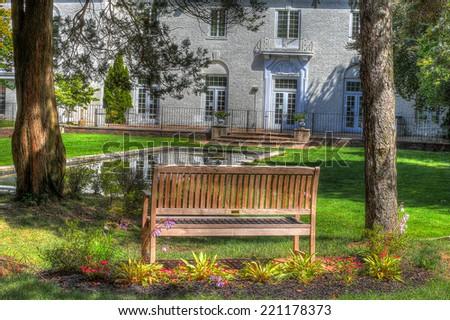 Backyard landscape (HDR image) - stock photo