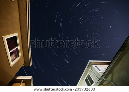 Backyard Star Trails - stock photo