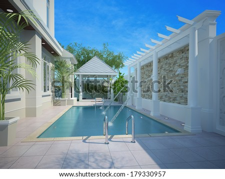 backyard with entertaining area and pool,3d - stock photo