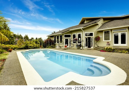 Backyard with swimming pool. Real estate in Federal Way, WA - stock photo