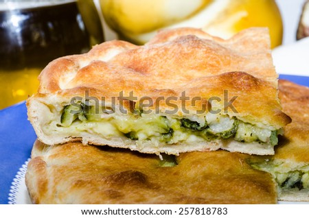 Bacon and cheese zucchini tiella various - stock photo