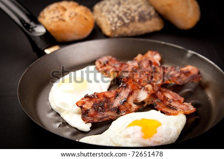 Bacon and eggs in a non-stick pan - stock photo