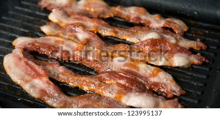 Bacon Cooked on Griddle - stock photo