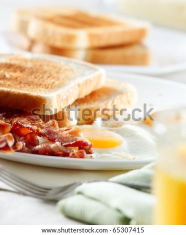 bacon, eggs and toast breakfast - stock photo