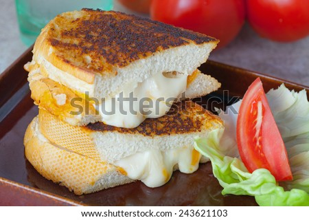 Bacon Flavoured Grilled Cheese Sour Dough Sandwich - stock photo