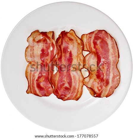 Bacon Fried Slices in Plate top view surface  isolated On White Background  - stock photo