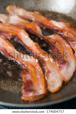 Bacon on Skillet - stock photo