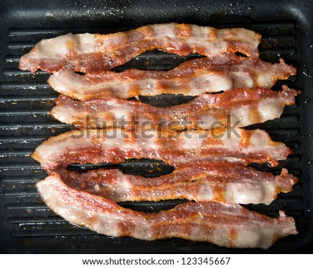 Bacon Sizzling on Skillet - stock photo