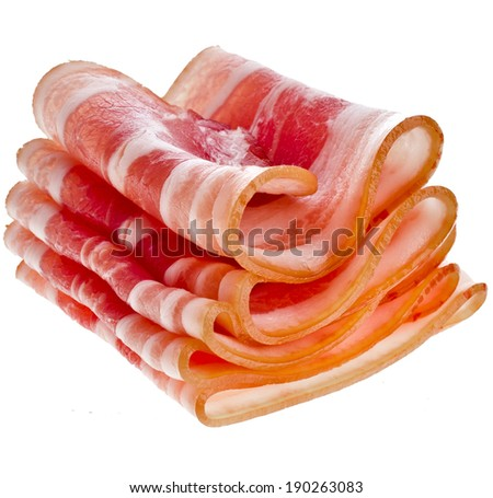 Bacon Slices isolated On White Background - stock photo