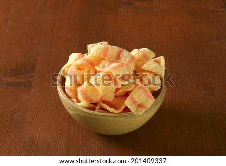 bacon snack food in the bowl - stock photo