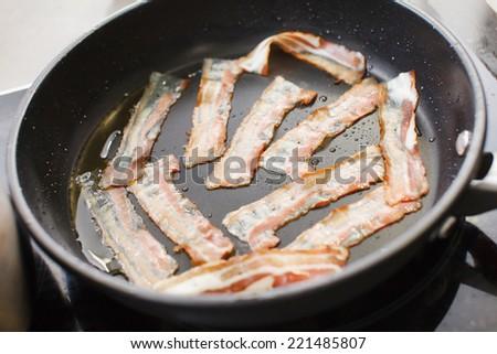 bacon strips - stock photo